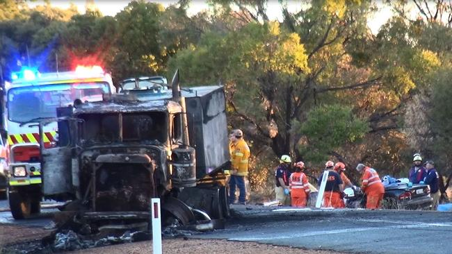 The horrific scene moments after the crash on the Gipps Way last night. Picture: TNV