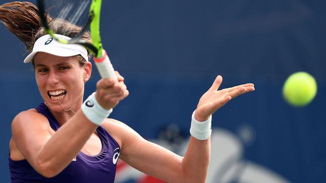 Johanna Konta of Great Britain hits a return.