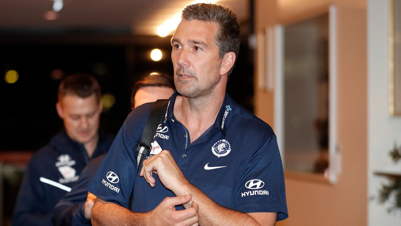 Carlton list manager Stephen Silvagni during last year's trade period. (Photo by Michael Willson/AFL Media/Getty Images)