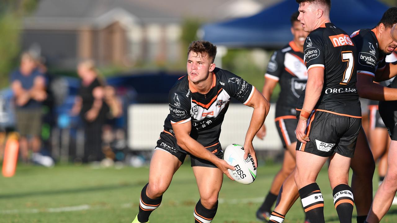 Wests Tigers hooker Jake Simpkinhas been killing it in reserve grade and is finally set to make his NRL debut. Picture: NRL Photos.
