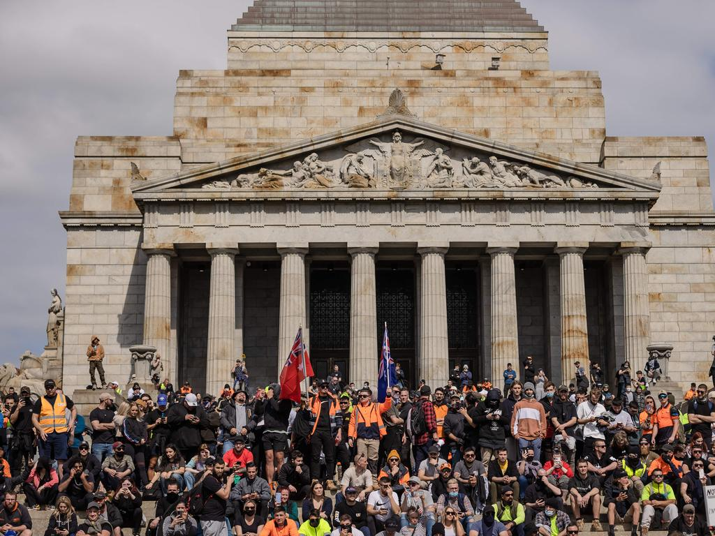 Anti-lockdown protesters take over the Shrine of Remembrance on Wednesday. Picture: Jason Edwards.