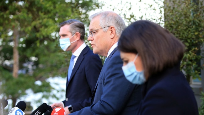 NSW Treasurer Dominic Perrottet and Premier Gladys Berejiklian announced a $5.1 billion support package in conjunction with Prime Minister Scott Morrison on Tuesday. Picture: NCA