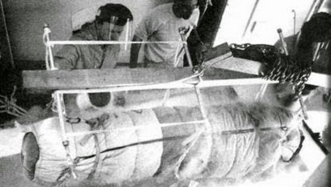 Frozen 50 years ago, James Bedford's body is given a 'new coat' before being re-immersed in a new liquid nitrogen dewar at Alcor cryogenic facility in Arizona. Picture: Alcor.