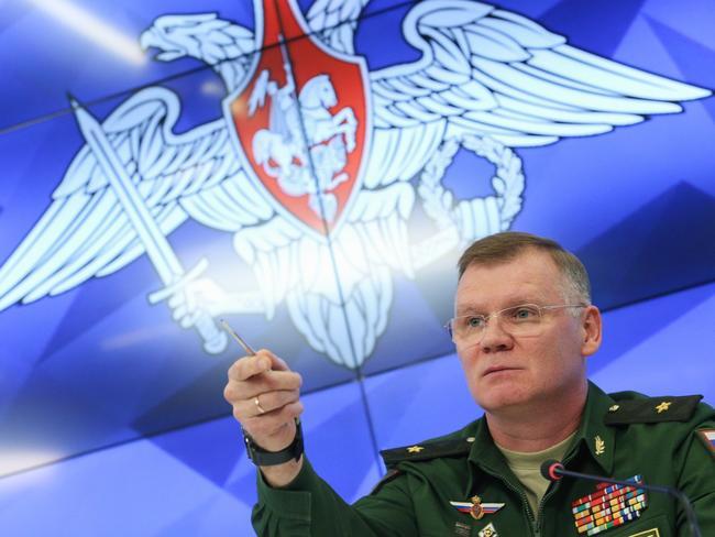 Russian defence ministry spokesman Maj Gen Igor Konashenko. Picture: AP