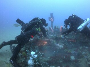 Maritime Archaeologist Association of Victoria Divers John Corby and Jarom Deeks explore the wreck of the SS Glenelg near Lakes Entrance in Bass Strait. Picture: Steve Cartledge