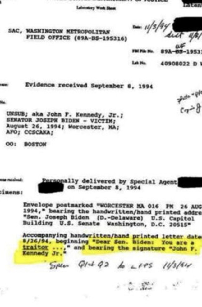 QAnon claim this is a genuine FBI document which shows JFK Jr resented Joe Biden and loves Donald Trump. Picture: Twitter.