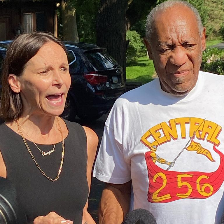 Lawyer Jennifer Bonjean and Bill Cosby speak outside his home after his release from prison. Picture: Getty Images/AFP
