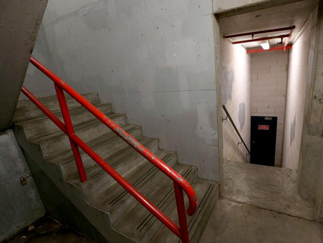 The stairwell at a car park next to the Library in Liverpool where the alleged rape took place.