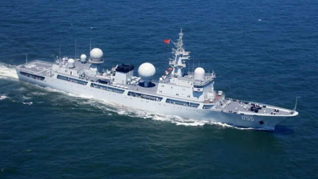 A Chinese Type 815G Dongdiao-class electronic surveillance ship is expected to be heading to waters off the Queensland coast during Talisman Sabre war games. Picture: Supplied