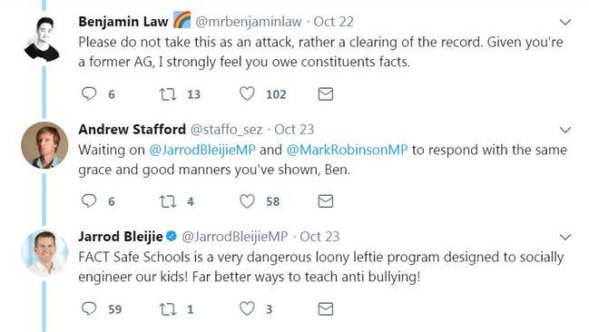 Ben Law shut down Jarrod Bleijie's Safe Schools argument.
