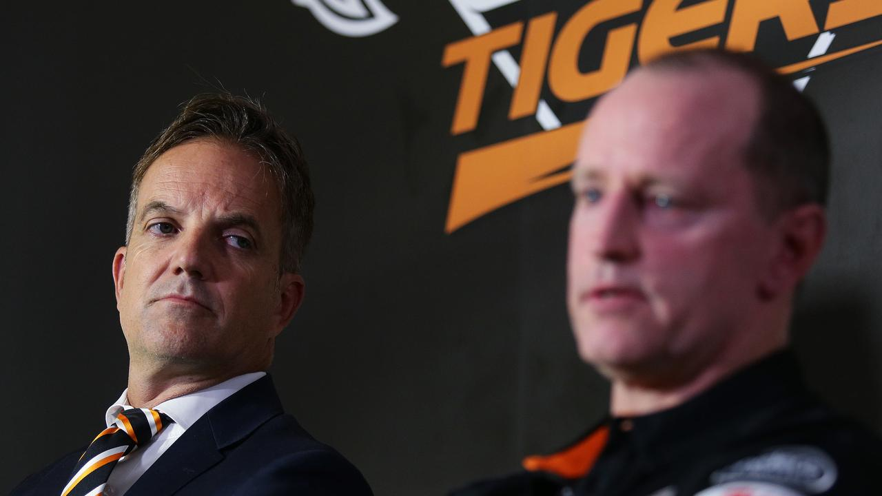 Wests Tigers CEO Justin Pascoe and new coach Michael Maguire speak during a press conference at Concord Oval. Picture: Brett Costello