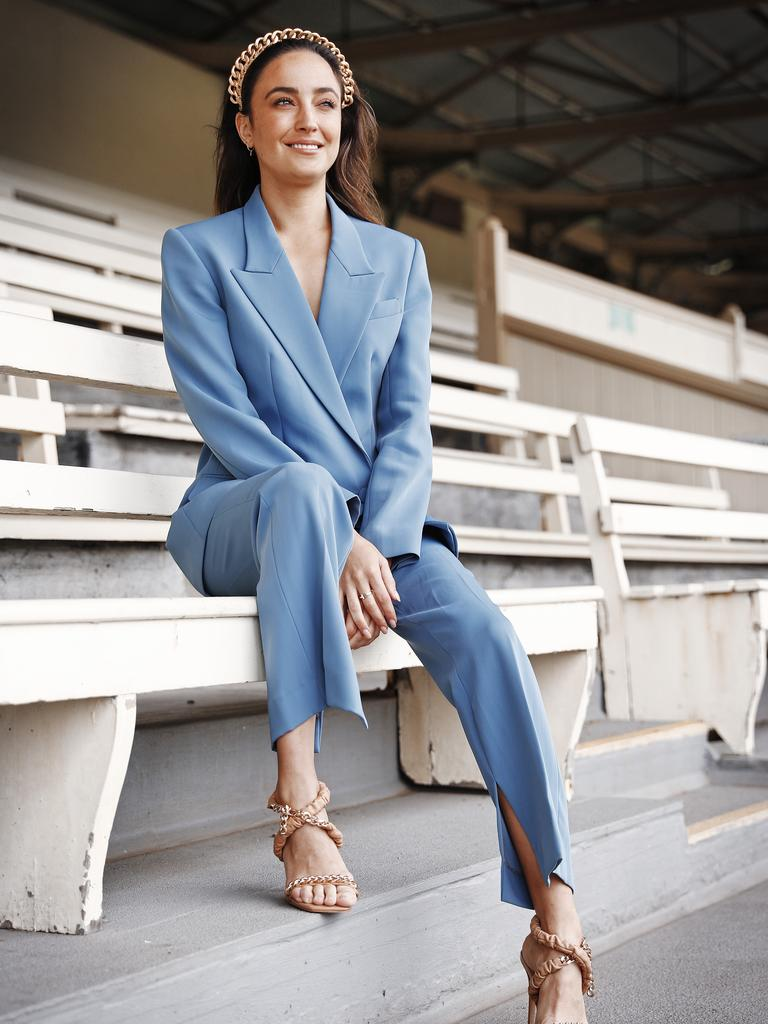 TV presenter Abbey Gelmi pictured at Royal Randwick Racecourse before the Golden Slipper this weekend. Picture: Sam Ruttyn