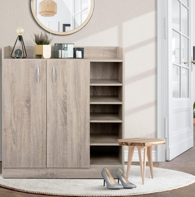 Wood shoe cabinet with shelving Picture: Supplied
