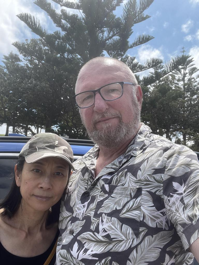 Greg Van Dam and his wife Kazuko say they've been left homeless by Queensland's border rules. Picture: Supplied