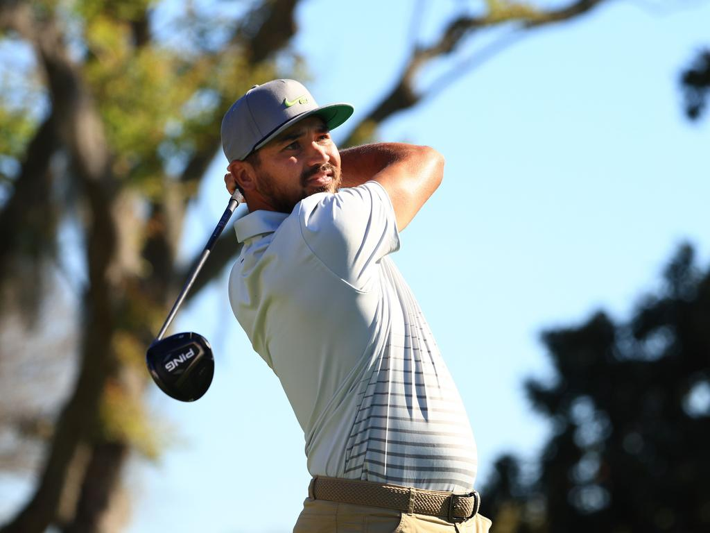 Jason Day plays his shot from the 15th tee. Picture: Mike Ehrmann/Getty Images/AFP