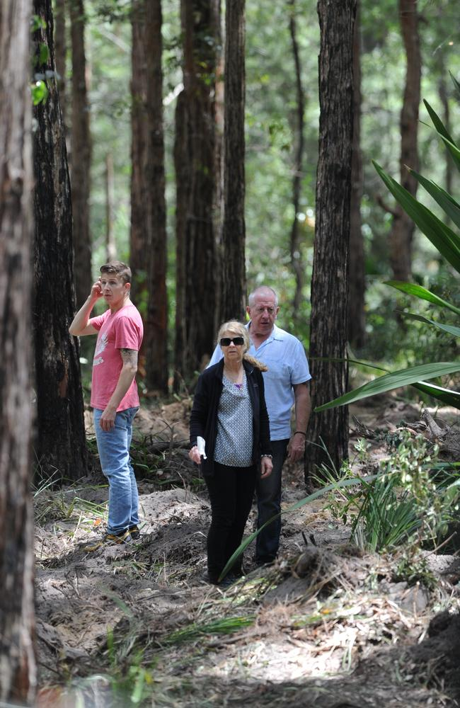 Extraordinary scenes in the Royal National Park where Faye and Mark Leveson watched as police dug for their son Matthew's body. Picture: News Corp.