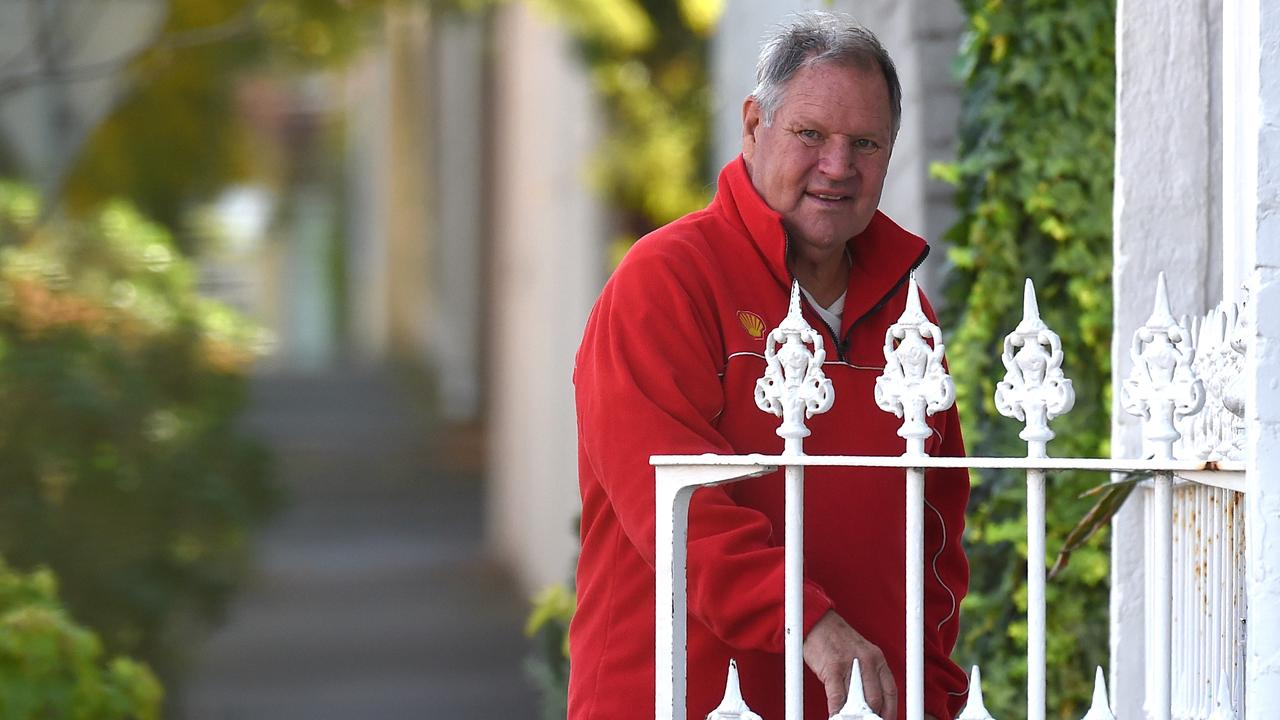 Robert Doyle out the front of the South Melbourne home at the height of his sexual harassment controversy. Picture: Nicole Garmston