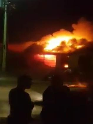 A video still of the house fire on Peerless Rd, in Munno Para West. Picture: Hayley Brooks
