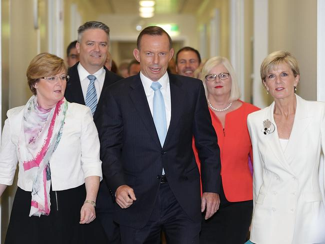 Support... Mr Abbott heads into the party room with a strong following ahead of yesterday's vote on the motion to spill the leadership. Picture: Stefan Postles/Getty Images