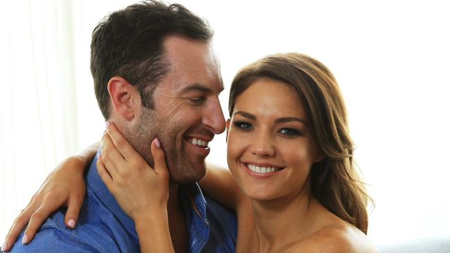 True love ... Bachelorette Sam Frost pictured with winner Sasha. Picture: Toby Zerna