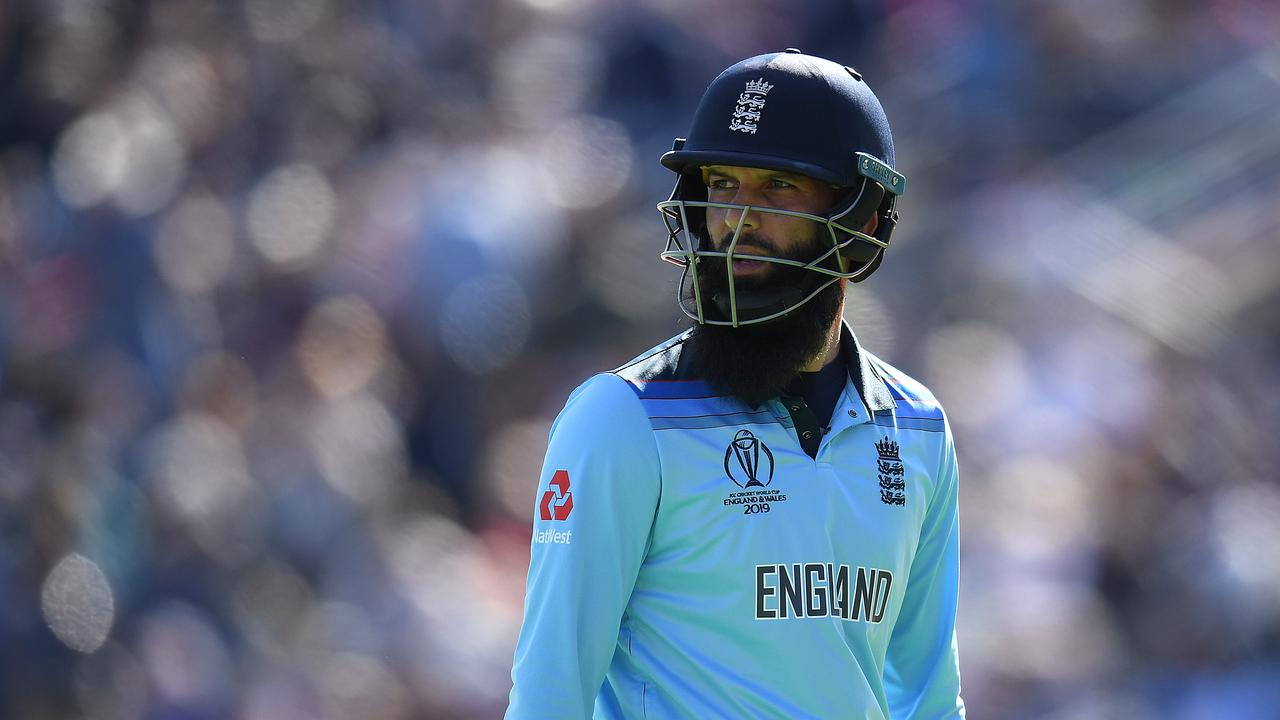 Moeen Ali hit a six and then went out for England. Photo: Clive Mason/Getty Images.
