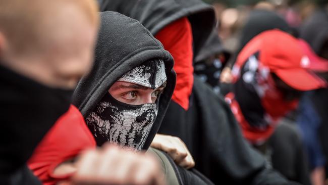 Antifa members in Melbourne. Picture: Jake Nowakowski