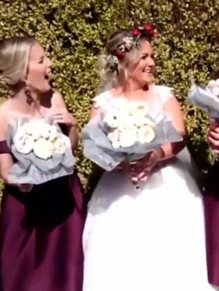 Paige's bridesmaids are delighted to swap their flowers for doughnuts.