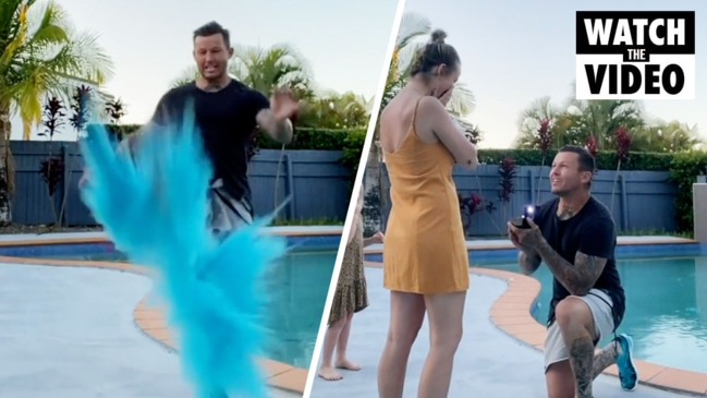 Todd Carney surprises girlfriend after gender reveal