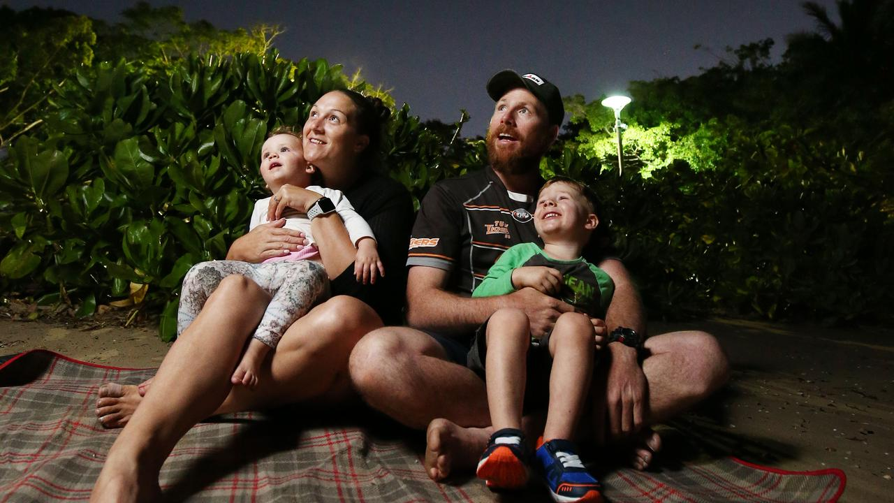 Time to head outside in the middle of the night to watch the Orionids meteor shower. The Eales family are experienced astronomers, seen here watching the Perseids meteor shower, which happens July-August. Picture: Brendan Radke