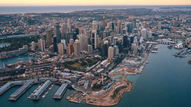Aerial photos of Sydney showing the Barangaroo site at sunrise. Picture: Toby Zerna