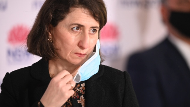 Premier Gladys Berejiklian is seen during a daily COVID-19 press conference. Picture: NCA NewsWire / Jeremy Piper
