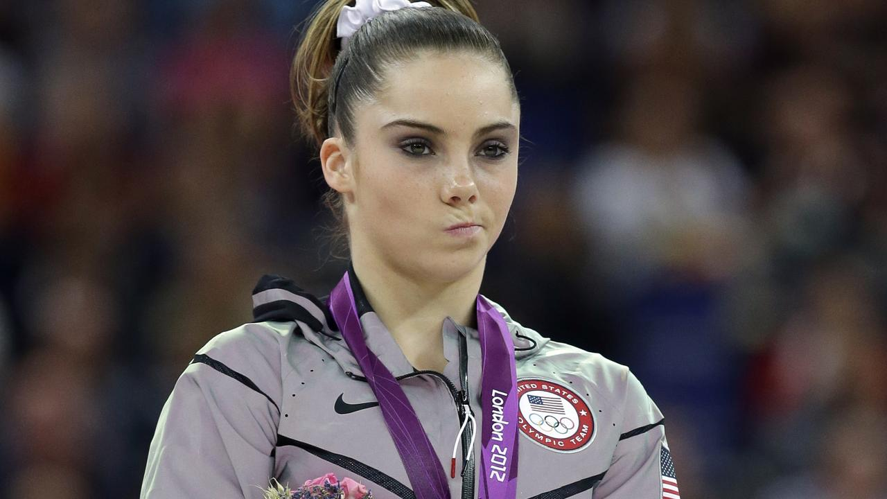 Silver medallist gymnast McKayla Maroney gestures during a podium ceremony at the London Olympics.