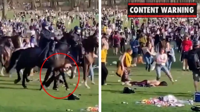 Woman knocked over by police on horseback at 'fake' concert