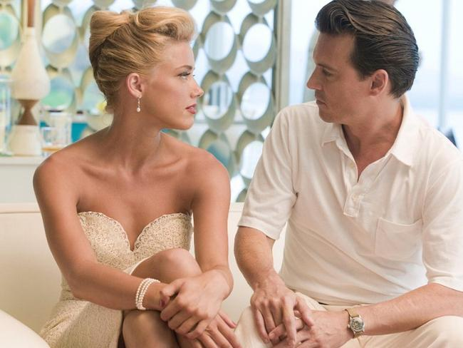 Amber Heard and Johnny Depp in The Rum Diary where they fell in love. Picture: Supplied