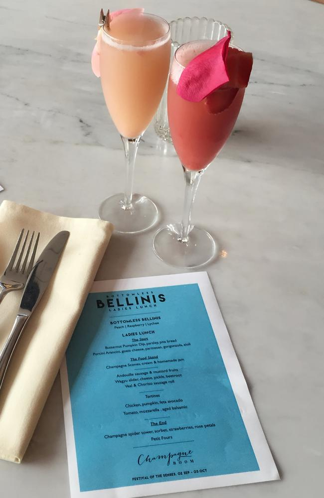 The Champagne Room Long Ladies Lunch offers bellinis in peach, raspberry and lychee flavours.