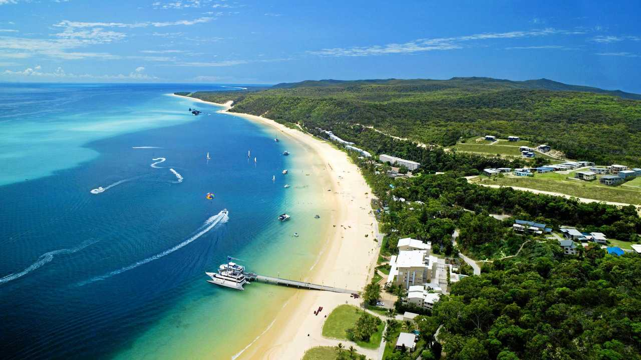 Tangalooma Island Resort is majestic from the air. Picture: CONTRIBUTED