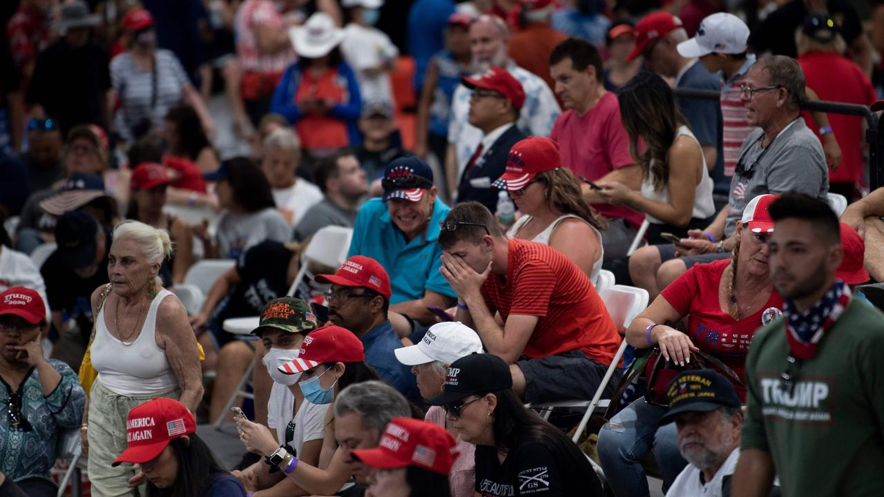 Some of Mr Trump's supporters at today's rally. Picture: Brendan Smialowski/AFP