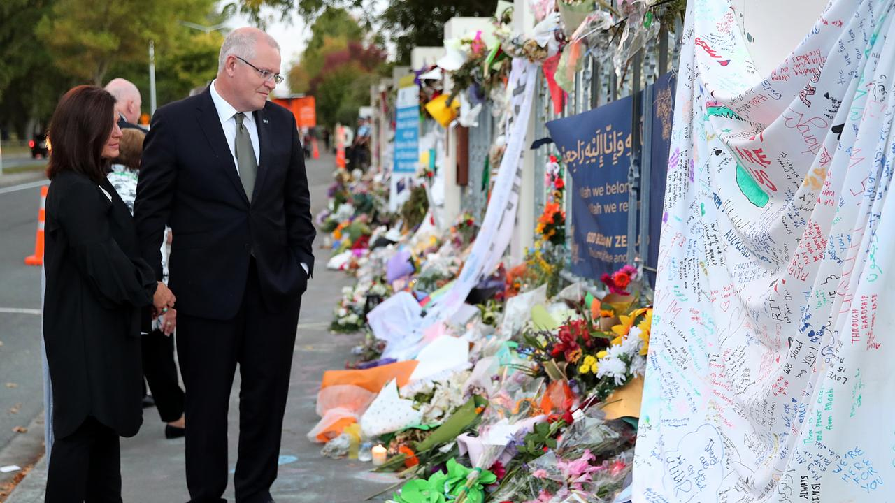 Prime Minister Scott Morrison and wife Jenny visits the Al Noor Mosque in New Zealand to lay a wreath and pay their respects to the victims of the Christchurch terror attack. Picture: Adam Taylor