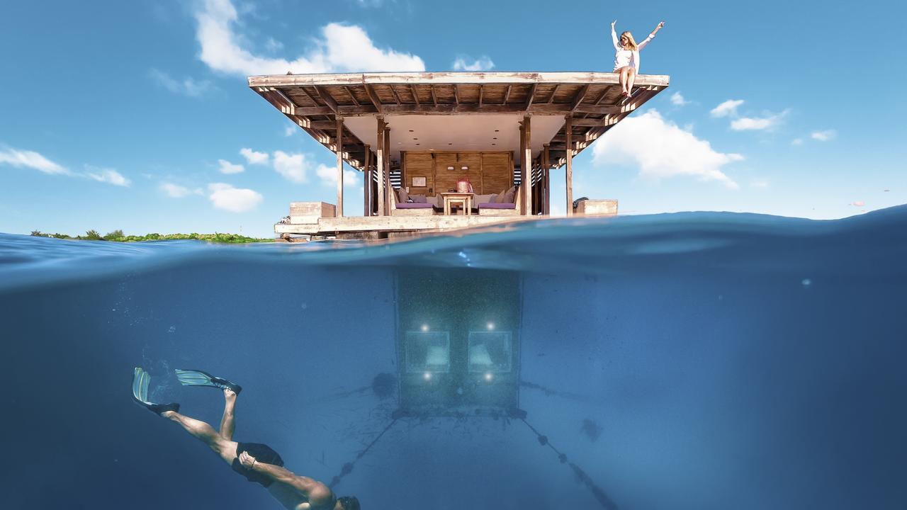 "Sleep underwater at The Manta Resort in Tanzania. Picture: <a href=""http://www.instagram.com/p/BhoxlbgnufP/?igshid=1d3anw8k97xze"" target=""_blank"">@marcbaechtold/Instagram</a>"