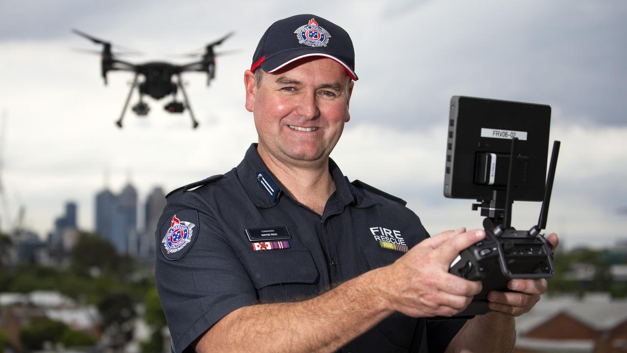 FRV Aviation Unit Commander Wayne Rigg shows off one of the new drones. Picture: NCA NewsWire/Sarah Matray