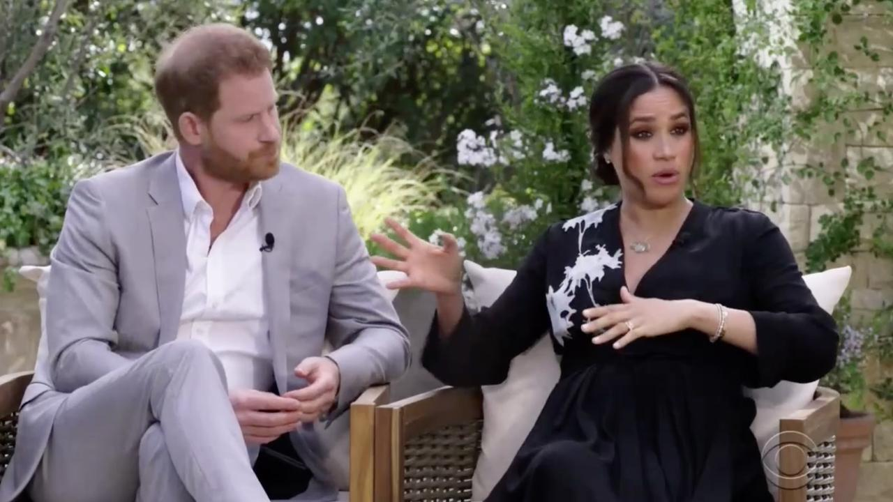Harry and Meghan dropped many a bombshell during their interview with Oprah Winfrey. Picture: CBS