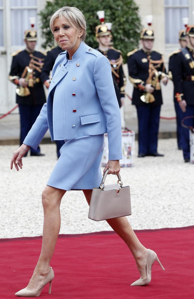 Brigitte, wife of new French President Emmanuel Macron, arrives for the inauguration ceremony. Picture: AP Photo/Thibault Camus