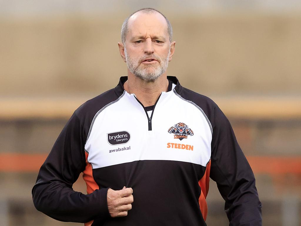 Head Coach Michael Maguire looks on during a Wests Tigers NRL training session.