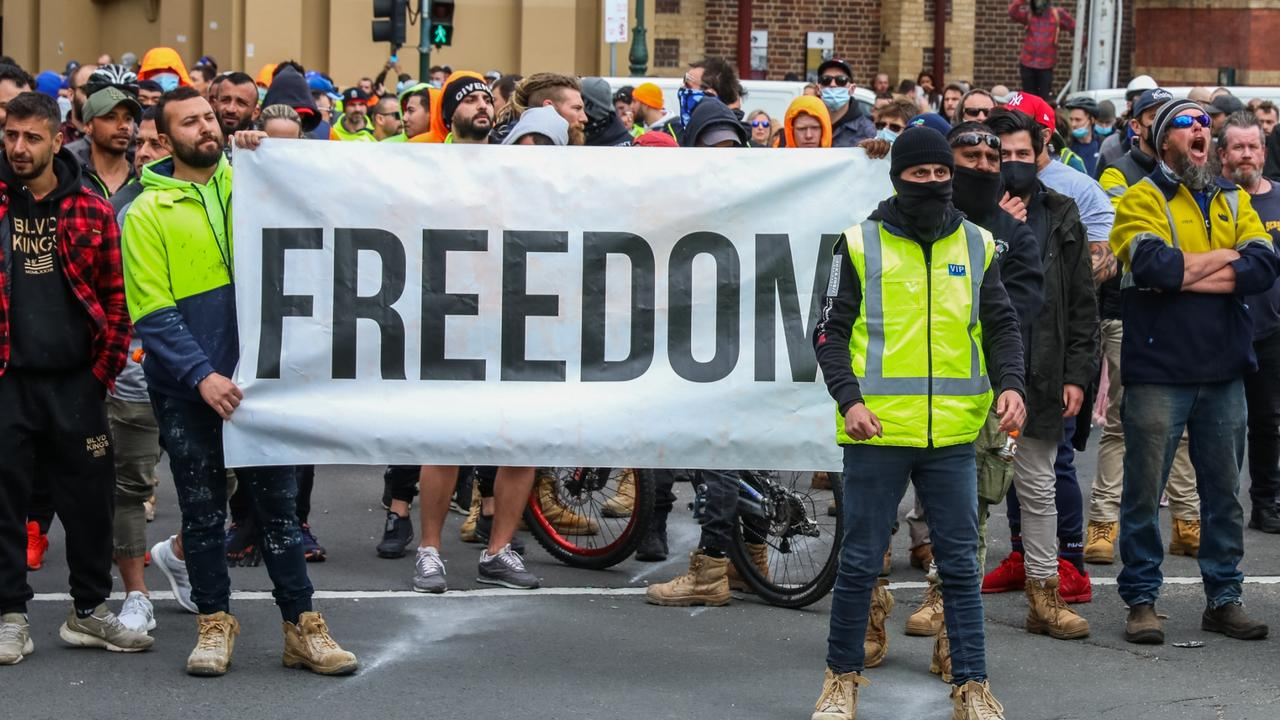 Unions insist the vast majority of protesters aren't tradies but anti-vaxxers and right-wing extremists. Picture: Getty Images