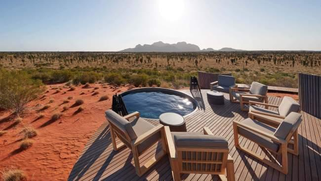 8. Longitude 131 Tick off two bucket list experiences with a stay at this ultra-luxury desert camp in Australia's Red Centre. With its plunge pool and floor-to-ceiling windows, the Dune Pavilion is the only to offer views of both Uluru and Kata Tjuta.