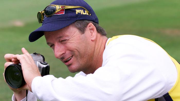Australia's captain Steve Waugh gets his camera out to take a picture of team-mate Michael Slater talking to the media during a net session at Trent Bridge, Nottingham. Australia play England in the third npower Test. (Photo by Nick Potts - PA Images/PA Images via Getty Images)