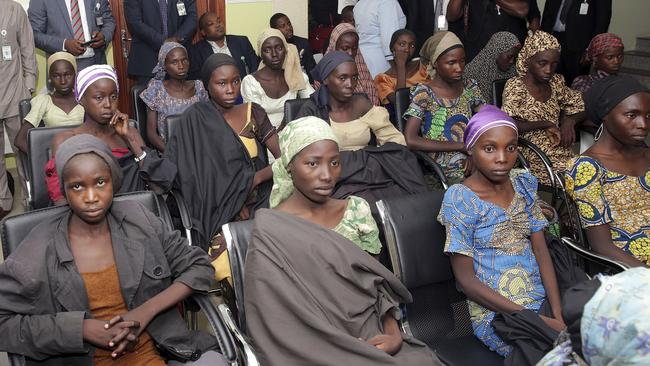 Chibok schoolgirls recently freed from Islamic extremist captivity are seen during a meeting with Nigeria's Vice President Yemi Osinbajo in Abuja, Nigeria, in October 2016.
