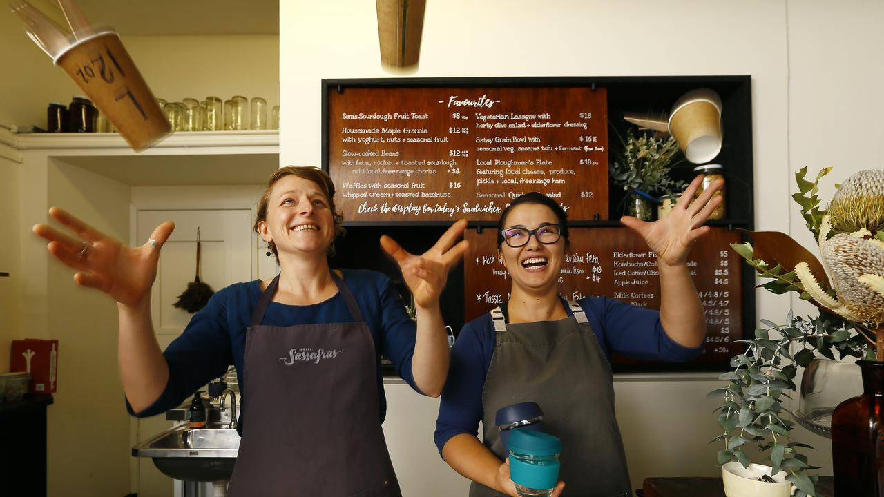 Isis St Pierre and Maya McDonell have already thrown away single-use plastic and switched to non-plastic alternatives at Sweet Sassafras Cafe, North Hobart. Picture: Matt Thompson