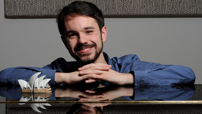 Josh Belperio in 2015, when he was one of eight young Australian composers to win a competition to create new fanfares for the Sydney Opera House. Picture: Keryn Stevens