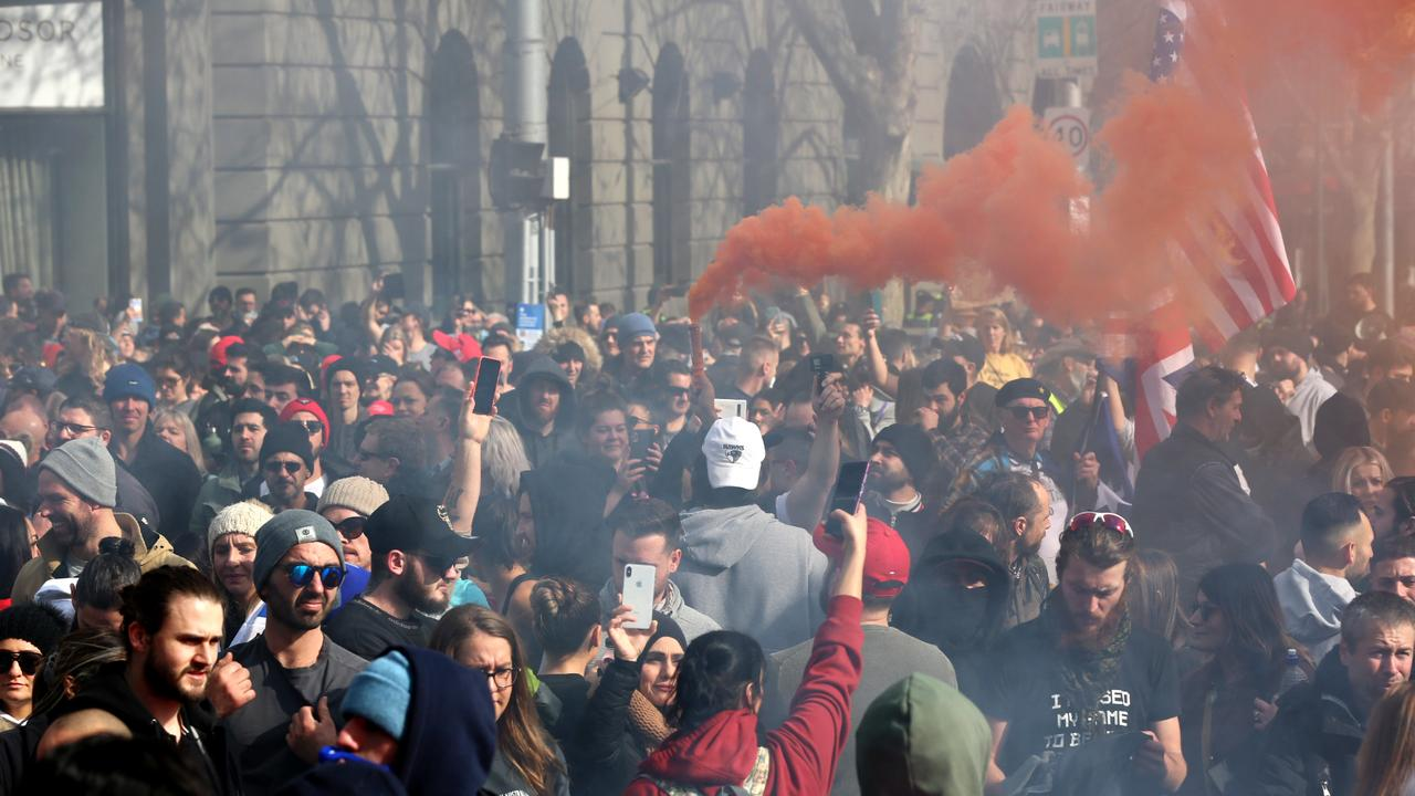 An anti-lockdown and anti-vaccine protest in Sydney turned violent. Picture: Matrix